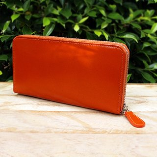 Leather Wallet - Zip Around Basic - Orange (Genuine Cow Leather) / Long Wallet