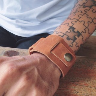 Leather Cuff Bracelet. Tan Oil Leather Bracelet.
