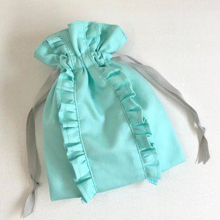 Blue Garden Straight Line Double Ruffle Drawstring Pouch Mint Blue