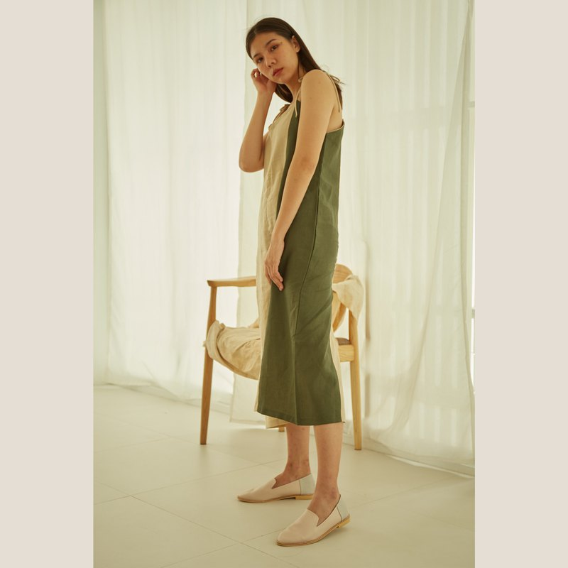 Linen Mood Dress - Olive Green