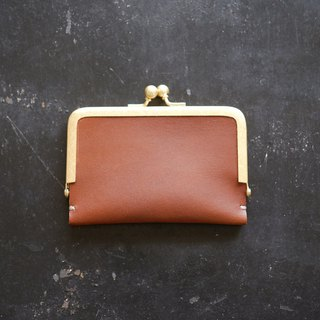 Leather business card (card) case / Brown/ pig suede / gift also