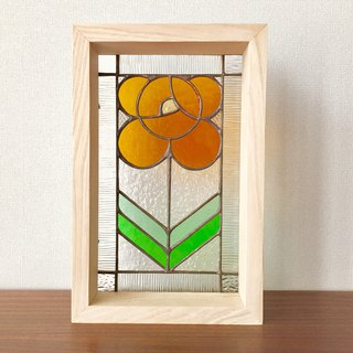 Stained glass panel rose Orange