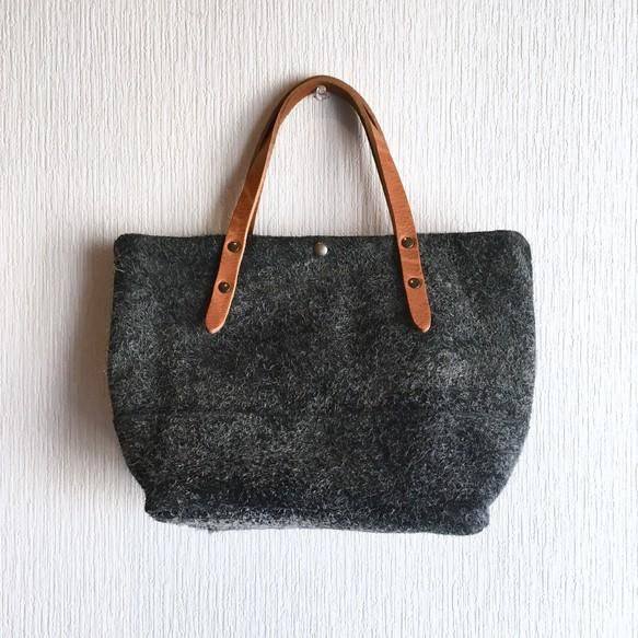 """Genuine leather"" Angola velor and tote bag to change extremely thick oil nude [Charcoal gray]"