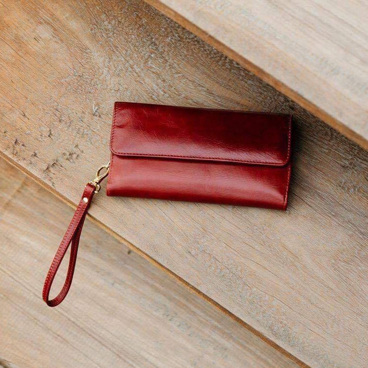 SOLDOUT- HAPPY - MINIMAL WOMAN LEATHER PURSE/LONG WALLET-RED
