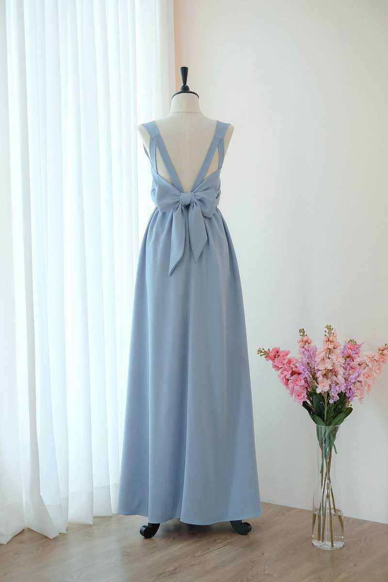 Dusty blue Dress Bridesmaid backless party Cocktail dress