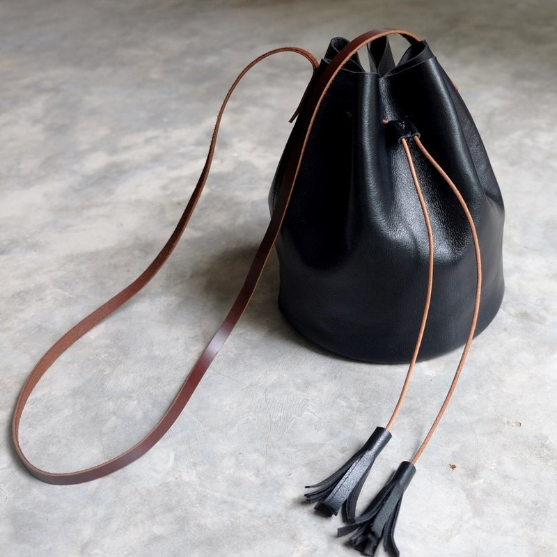 Mini Black Leather Bucket Bag / Leather Drawstring Handbag