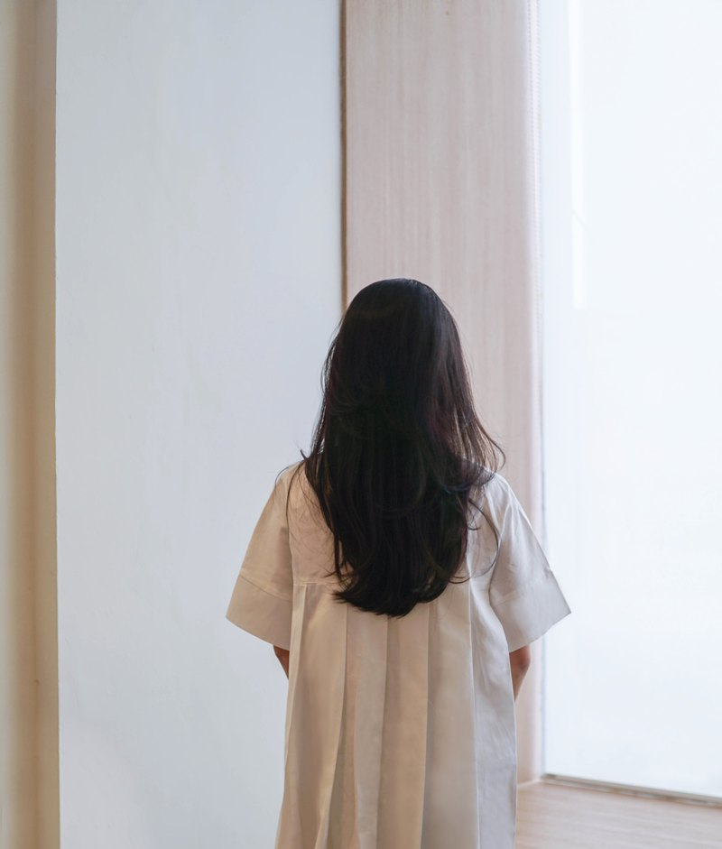 Japanese Cotton White Back Pleated Dress