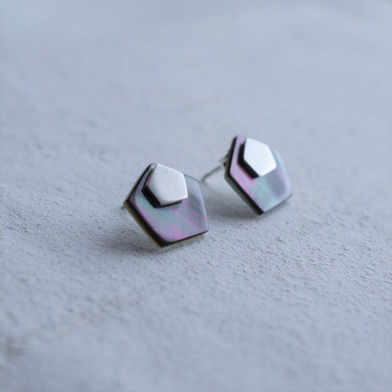 Shape-Pentagon MOP & Silver 2way earrings
