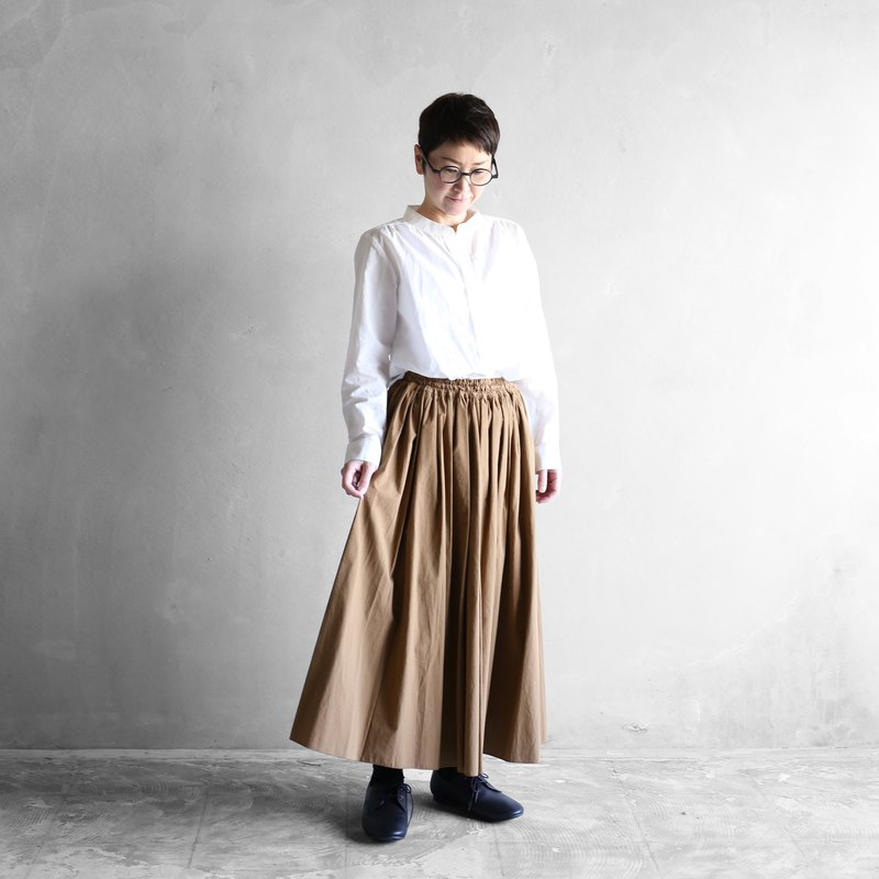 Copy soft cotton long skirt [Brown]