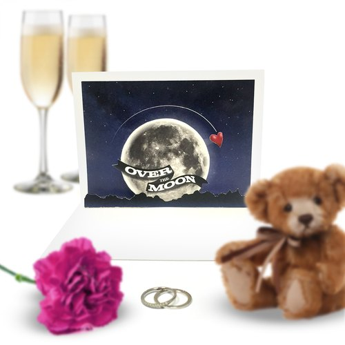 Over The Moon Card | Moon Pop Up Card | Romantic Card