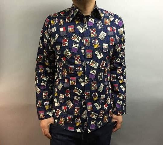 Long-sleeved shirt Japanese Pattern (playing cards in the hexagonal pattern)