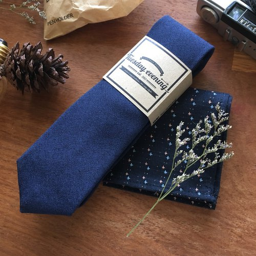 Neck Tie Blue Osaka Set with Blue Cross Pocket Square