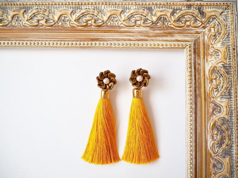 Bronze flower and tassel earrings