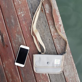 Light gray Canvas Passport Bag / clutch / small wallet