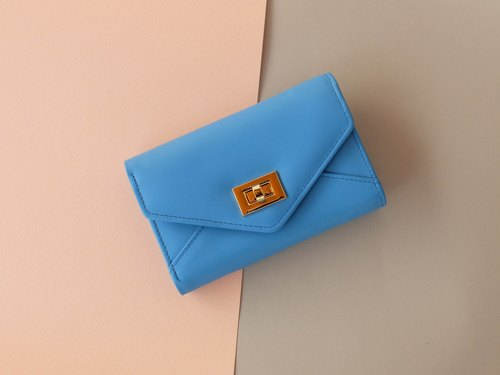 DAISY - MINIMAL WOMEN LEATHER WALLET / SHORT PURSE -BLUE