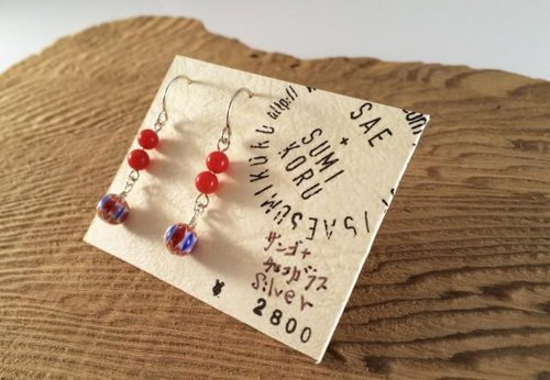 Coral + Czech glass SV earrings
