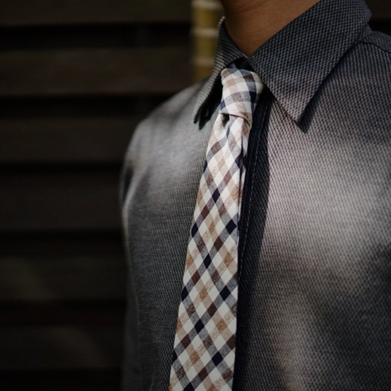 CAVEMAN Necktie - Blue Black Checks Neckties