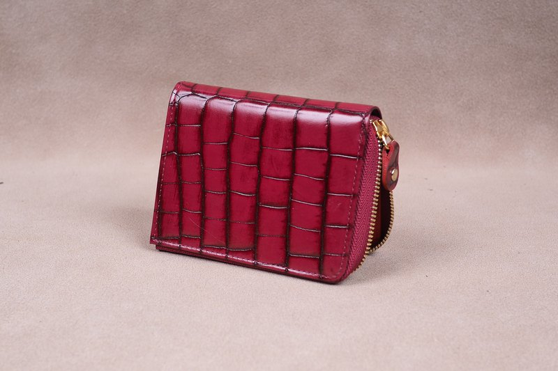 Zipper Wallet / Coin Wallet / Italy Crocodile Cow Leather(Red)