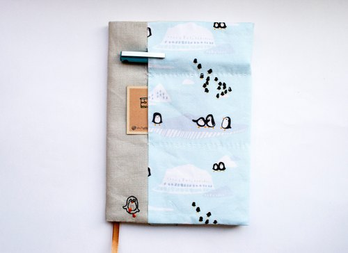 Peguin Waddle - adjustable A5 fabric bookcover