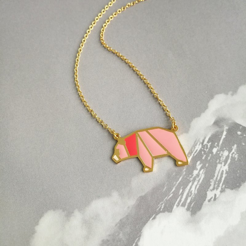 Glorikami Pink Panda Origami Necklace