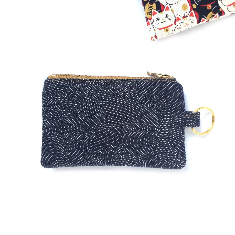 钥匙圈/零钱钞票钥匙包, Slim Pocket Zip Purse, Japanese indigo Cotton Wave Prints