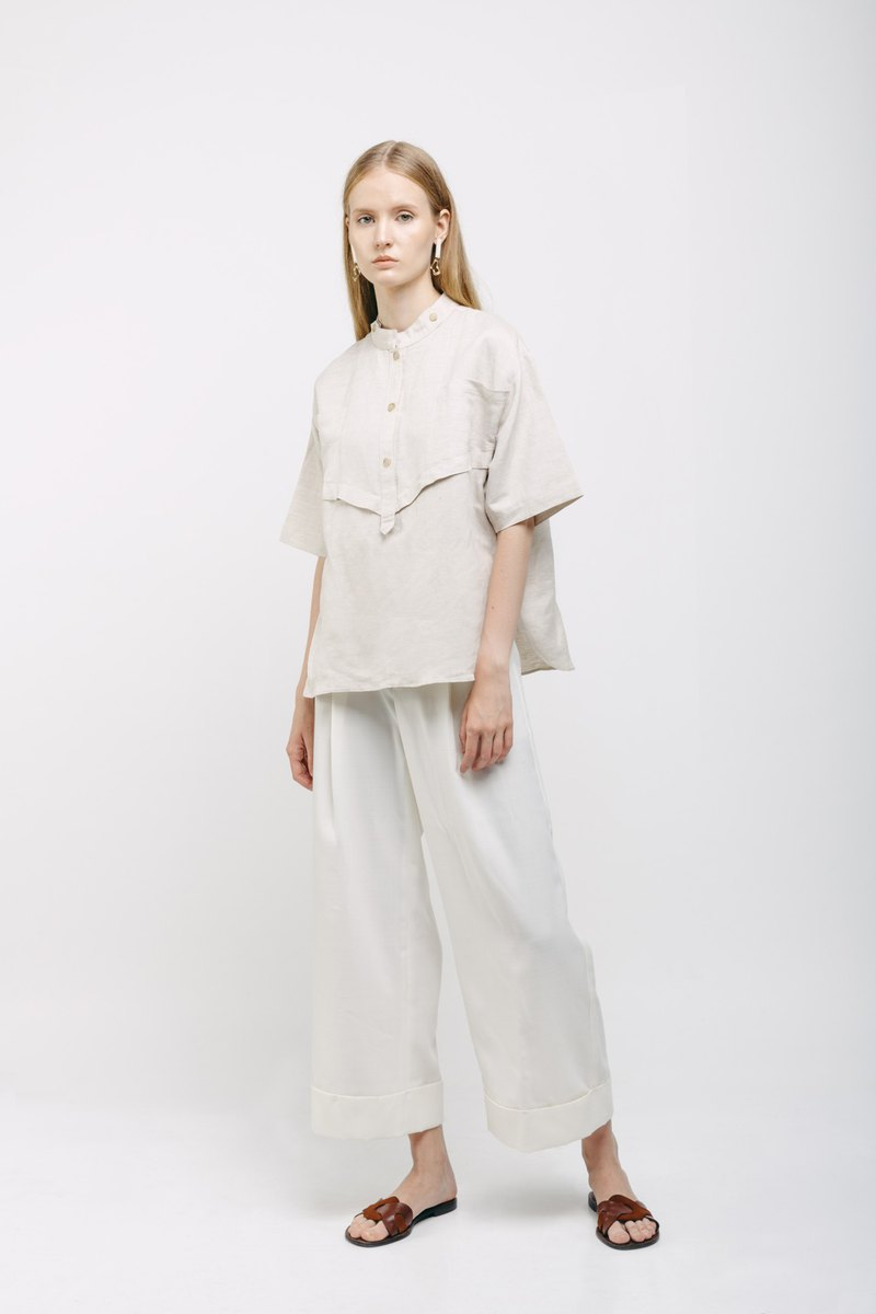 Oatmeal Linen Oversized Top with Mao Collar