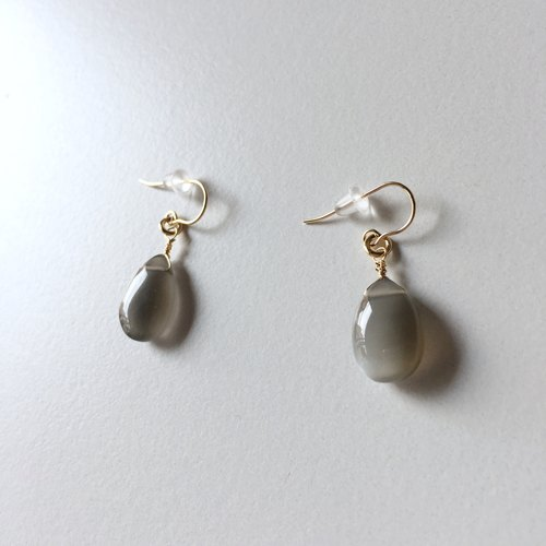 Birthstone of June Gray moonstone earrings 14 KGF