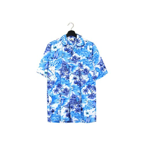 Back to Green:: 蔚蓝海洋 //男女皆可穿// vintage Hawaii Shirts (H-29)