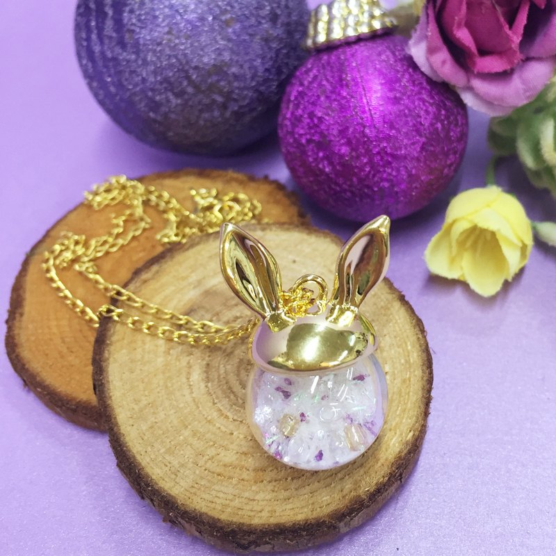 兔仔耳水晶玻璃球颈链 雪球波波 Rabbit Snow Ball Necklace