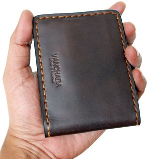 Wallet Money Clip Bi-fold V.3 Vegetable Rusty Brown Hand-cut & Hand-sew process.