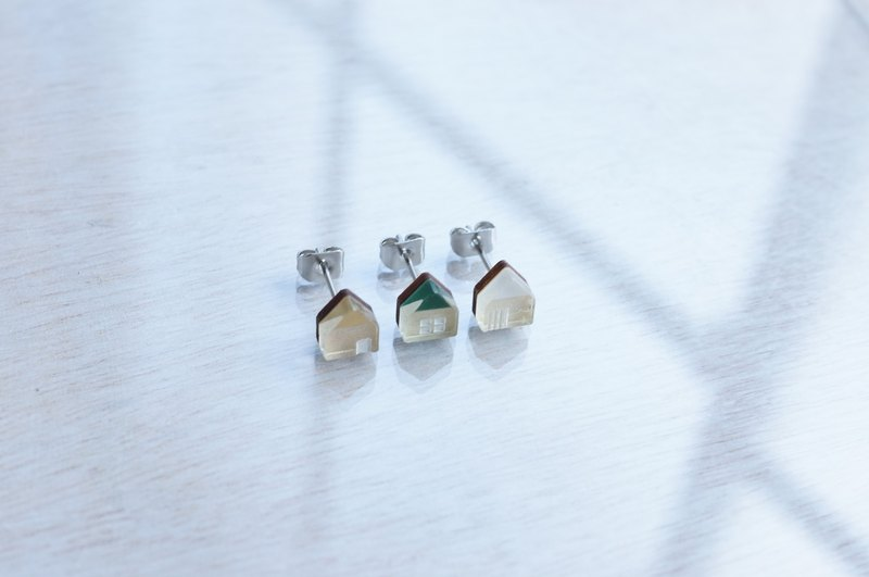 Small house earrings three-piece set / gold-green-white