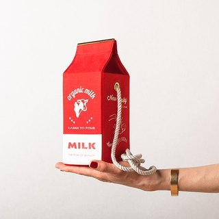 有机牛奶盒肩背包 Organic milk pochette  --  RED