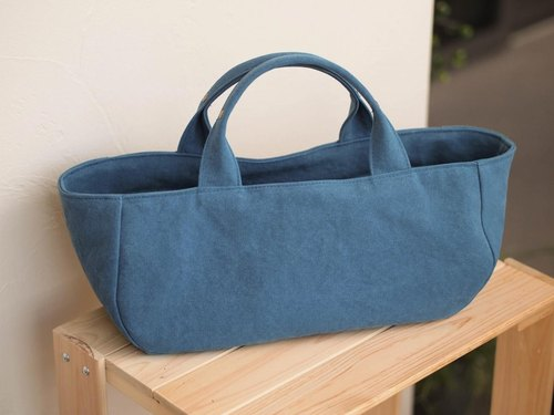 Round tote with lid Yokonaka (mineral blue)