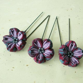 ♪ perfect to knob crafted three-piece set of hair ornaments of cherry tree made from old cloth <purple> Hanami