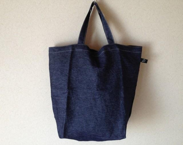 Denim linen tote bag (L)
