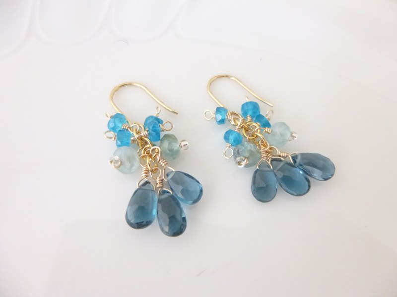 London blue topaz and apatite simple earrings and earrings