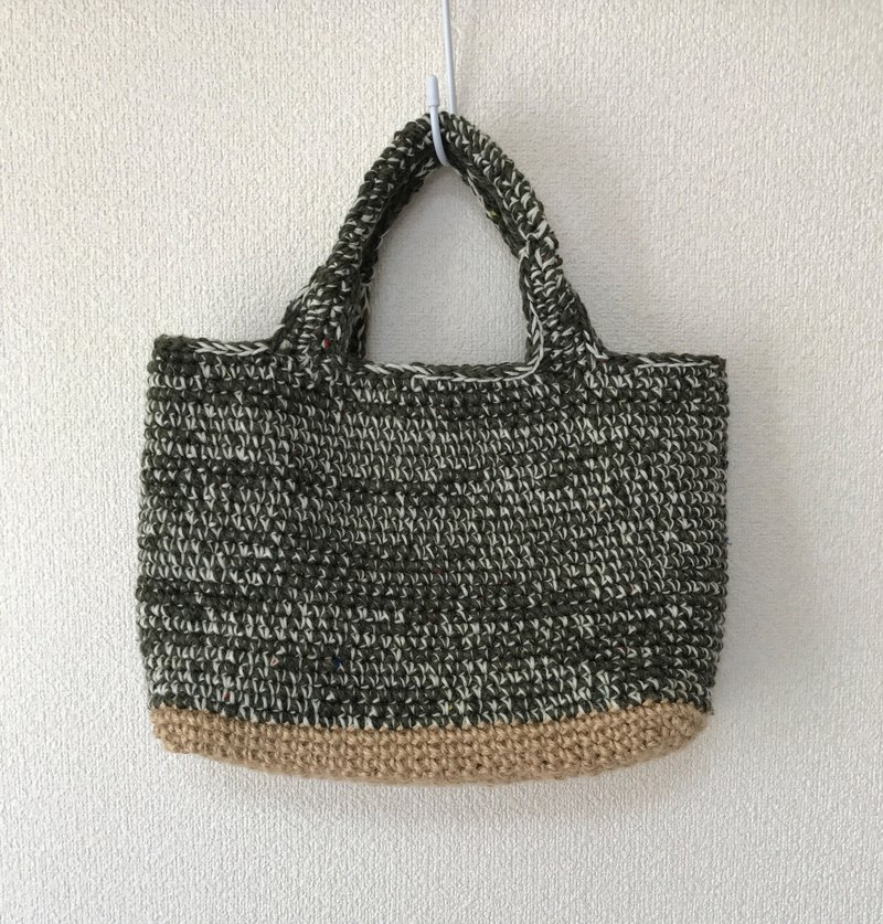 Tote bag, wool yarn, deep grass color