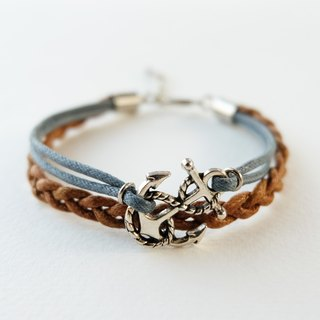 Silver anchor bracelet / gray and brown