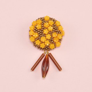 statement and sparkle beaded circle brooch, gorgeous brooch, orange and gold