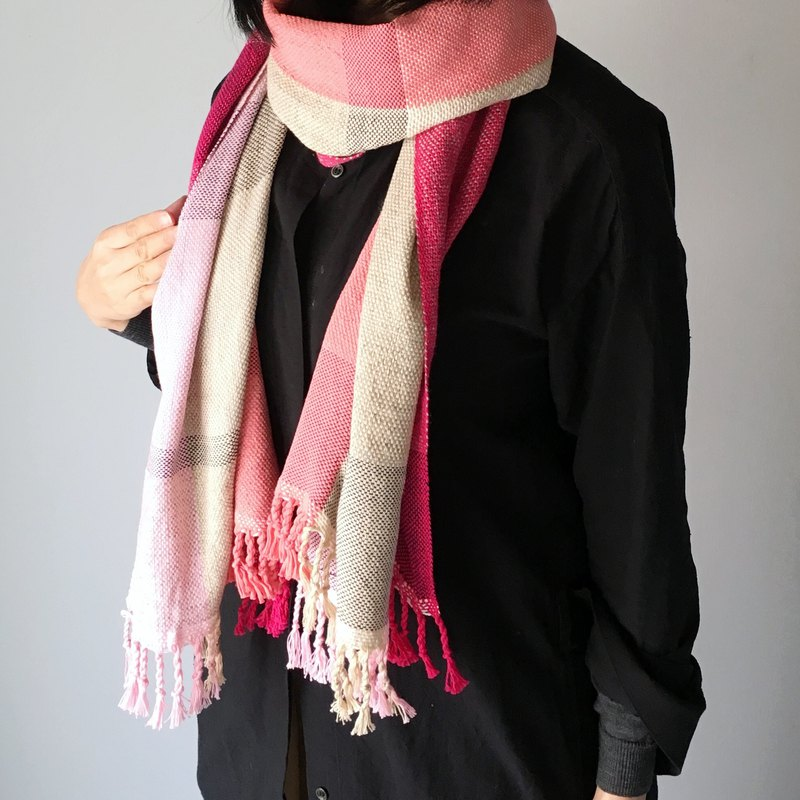 Unisex Scarf / Pink and Beige Mix - All season available -