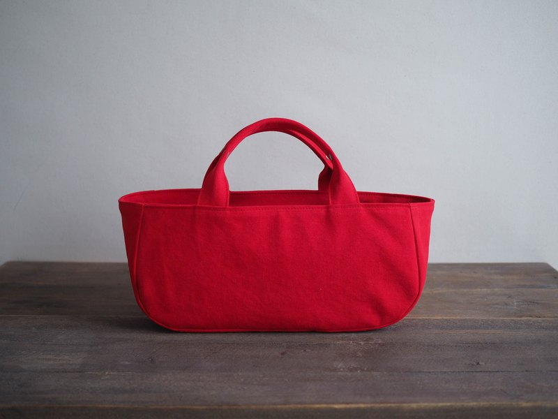 Round tote with lid Yokonaka red