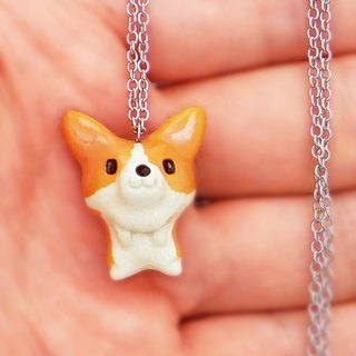 Quite small ceramic pendant of corgi shape # 1 Always with corgi!