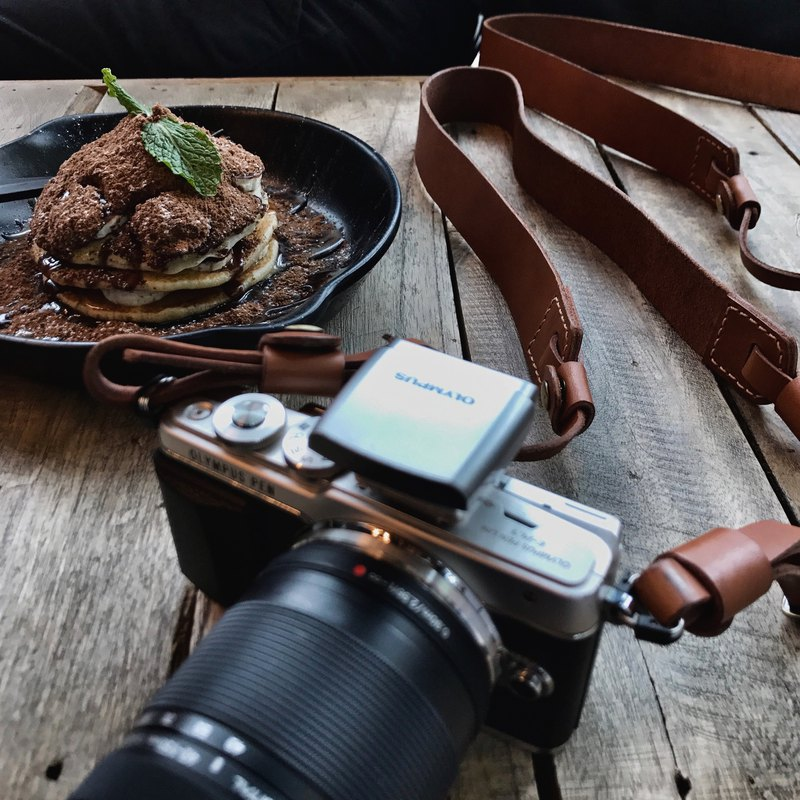 Ochre leather camera strap