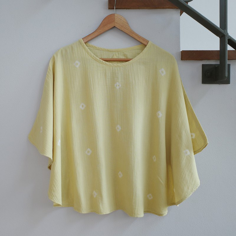 Butterfly shirt / yellow dot / loose fitting cotton blouse