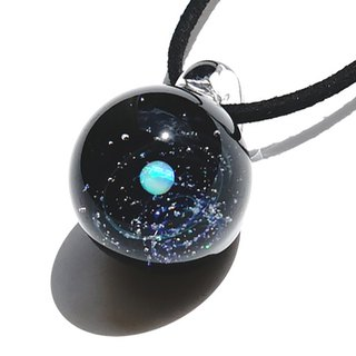 A world of new stardust waste. White opal, opal cluster entered ver2 glittering glass pendant Space star planet