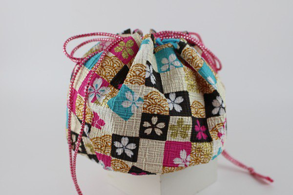 Very strong and gorgeous Japanese paper drawstring bag Large size