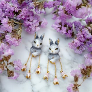 Adele Gray Rabbit Earrings