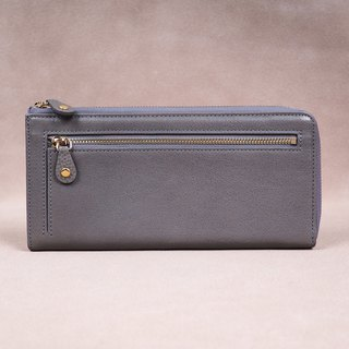 Italian Vegetable Genuine Leather Lady Long Wallet Zipper Wallet Purs gray