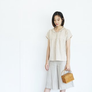 Vanda Blouse : Linen Peter Pan Collar Short Sleeve Blouses Natural Color