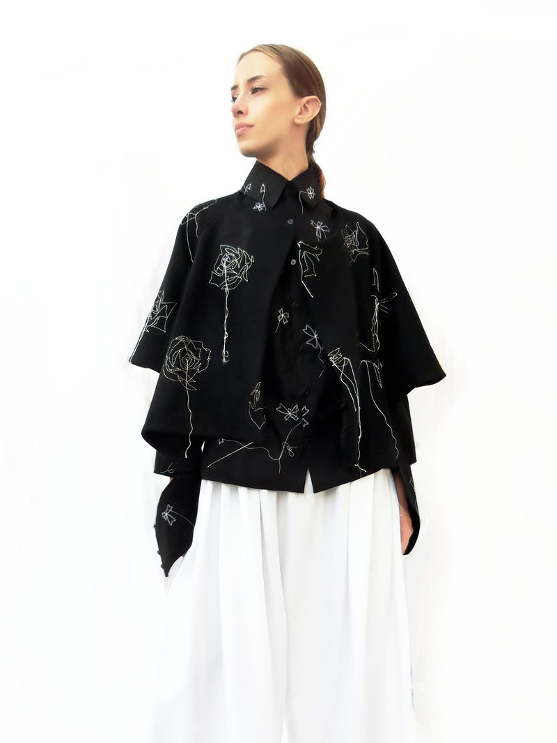 Wool Stitch Embroidery Jacket/ Black